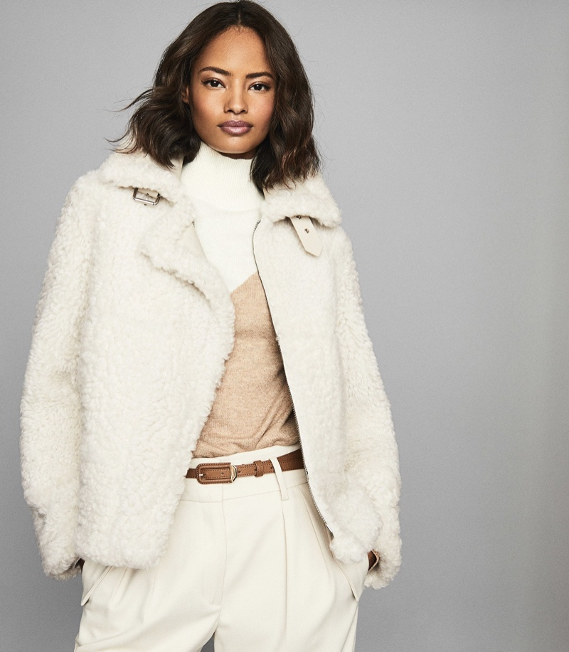 REISS Clarice Reversible Shearling Jacket $1,685