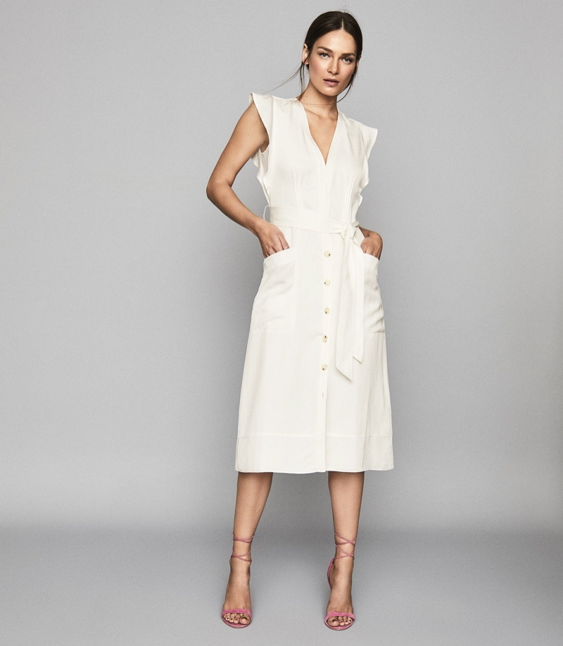 REISS Enid Button Through Dress $320