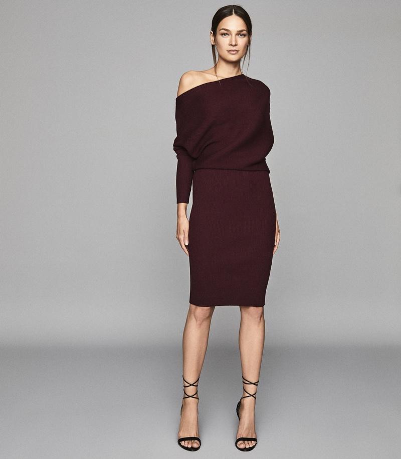 REISS Lara Off Shoulder Knitted Dress in Pomegranate $345