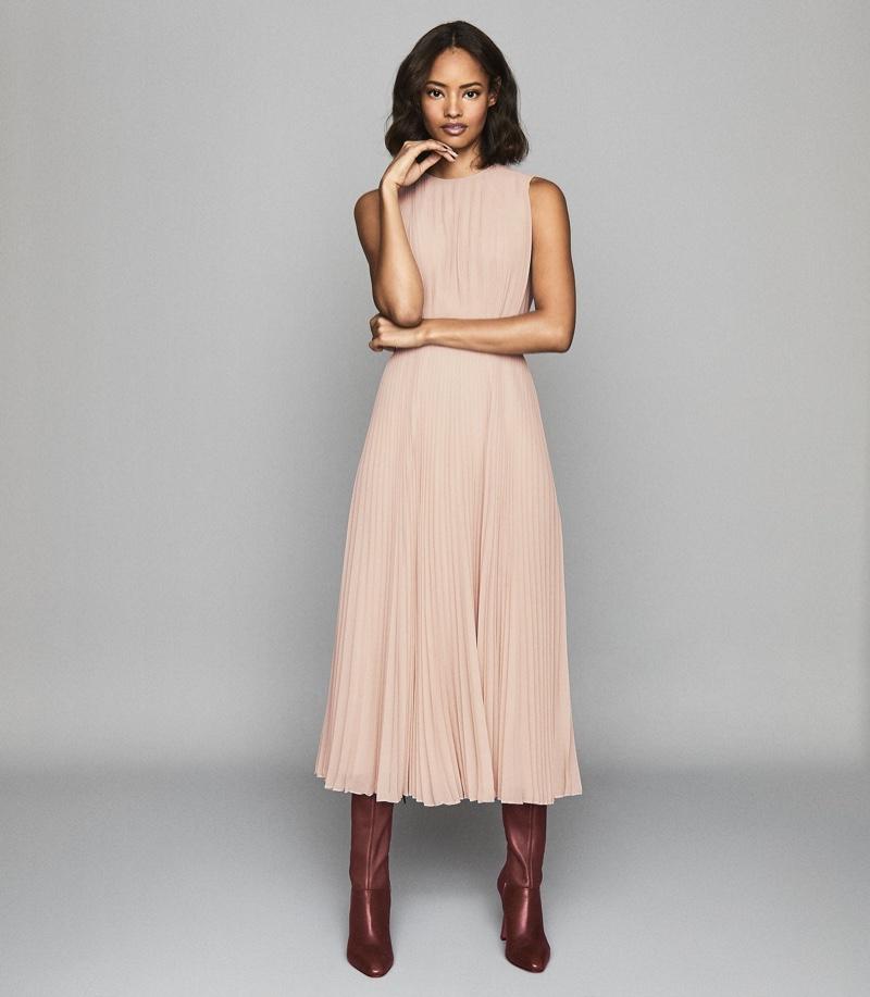 REISS Pandora Pleat Detailed Midi Dress $520