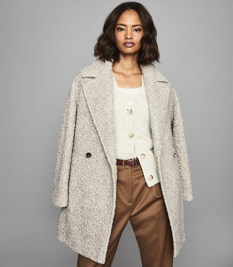 REISS Scarlet Wool Blend Teddy Coat $495