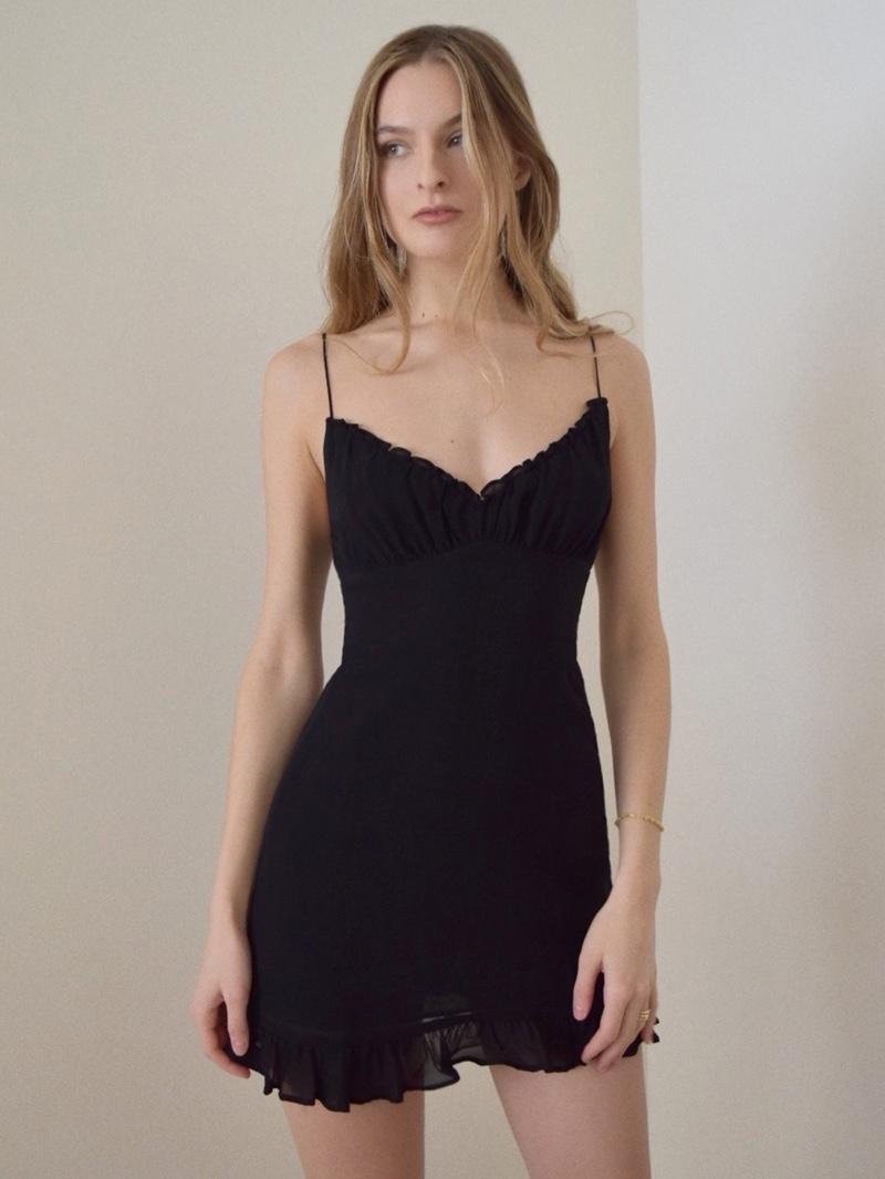 Reformation Esther Dress in Black $218