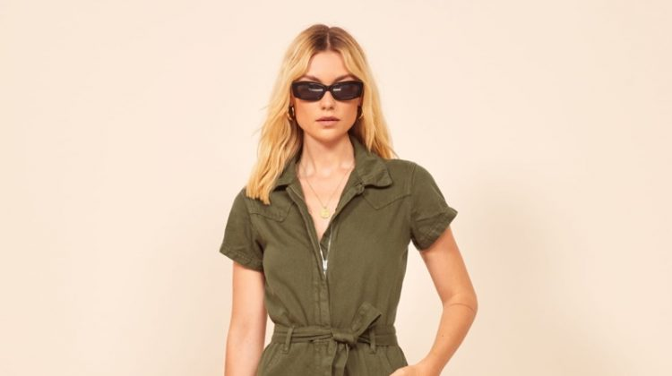 Reformation Kenny Boiler Jumpsuit in Army $178
