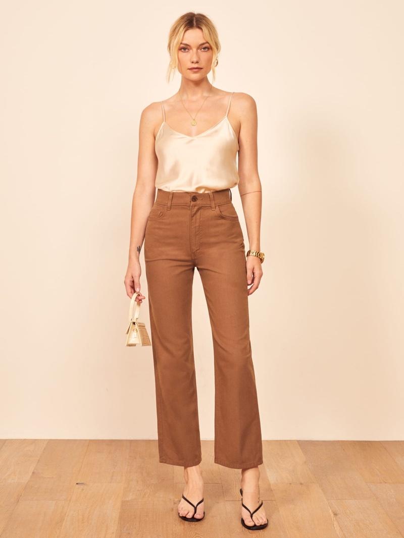 Reformation Linen Jean in Toffee $128