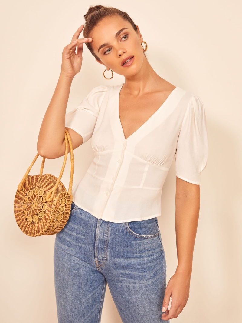 Reformation Madeline Top in Ivory $128