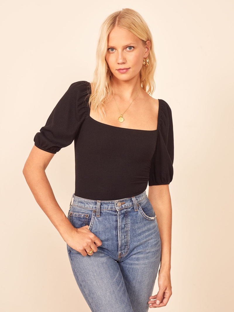 Reformation Rosa Top in Black $78