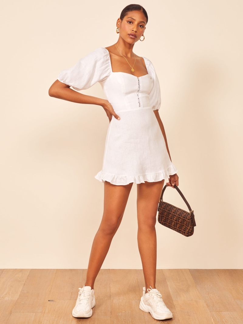 Reformation Seattle Dress in White $218