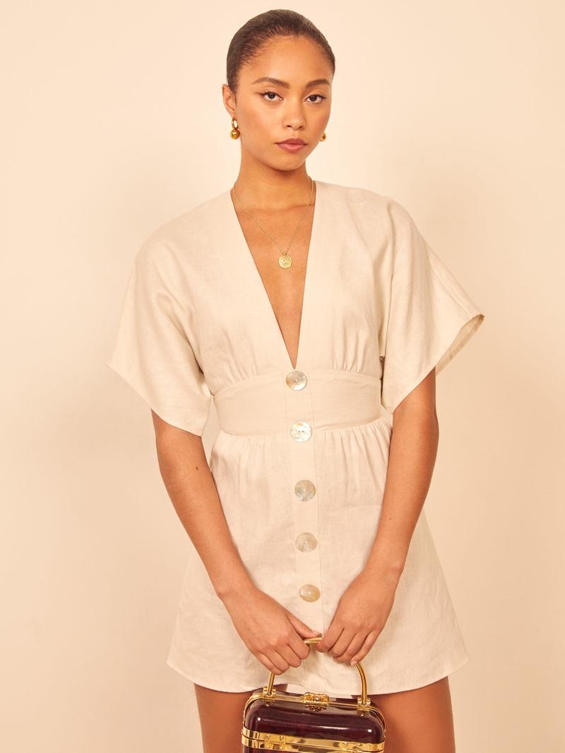 Reformation Ty Dress in Cream $248