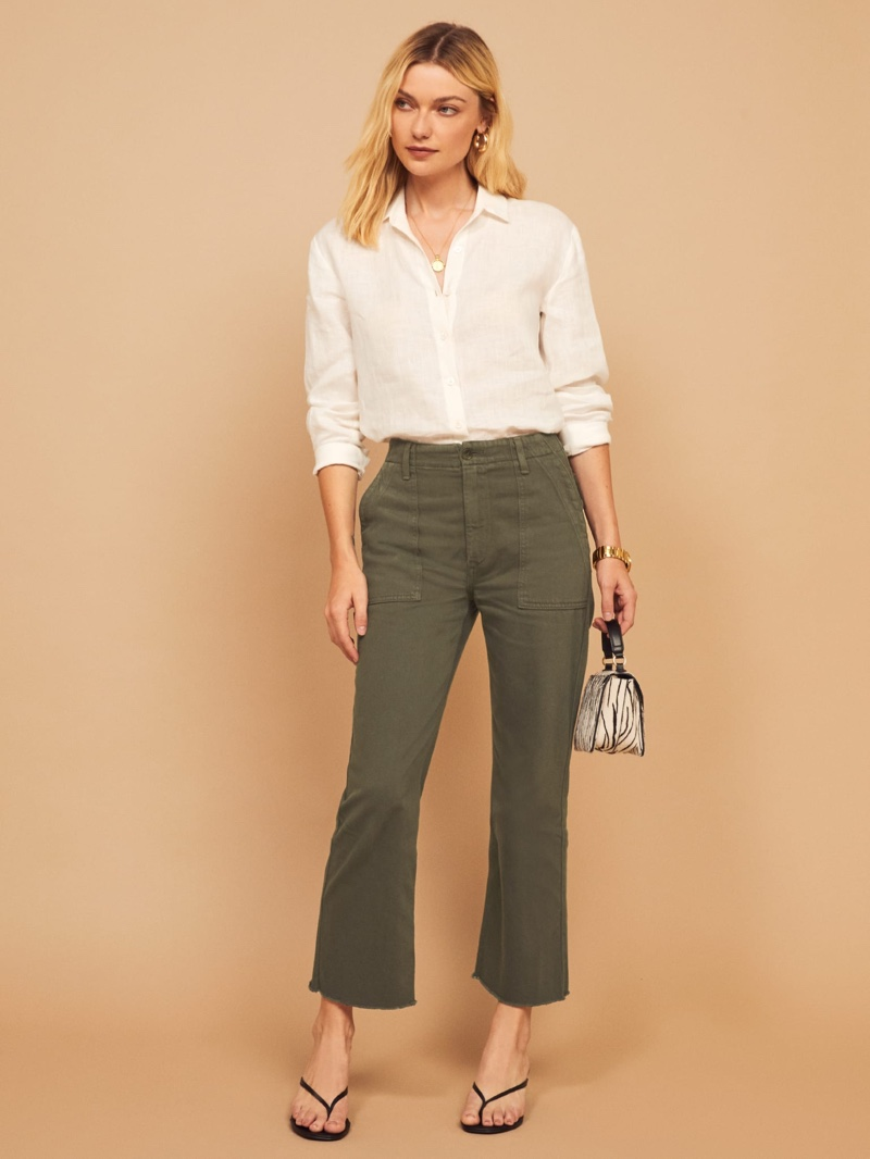 Reformation Utility Pant in Army $148