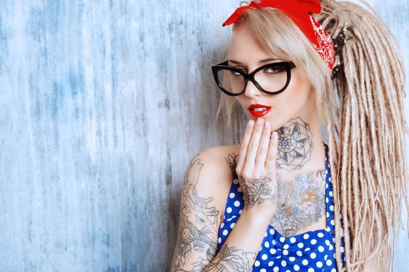Retro Pinup Model Dreadlocks Tattoo Blonde