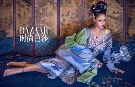 Wearing rich jewel tones, Rihanna enchants in a traditional inspired look