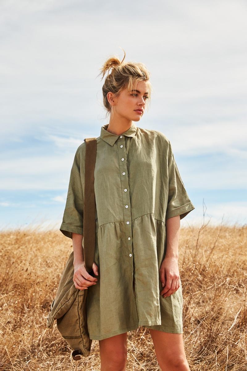 Model Megan Irwin wears khaki shirt dress from Rowie The Label
