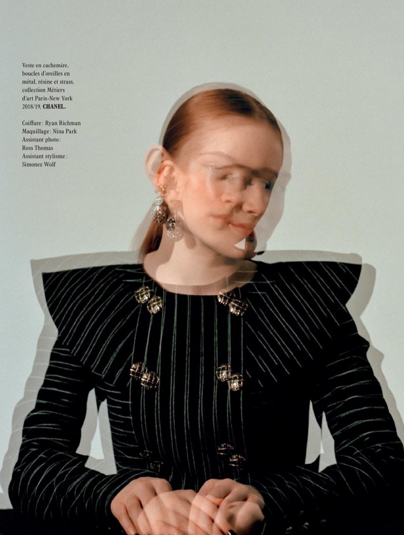 Actress Sadie Sink poses in tailored Chanel jacket
