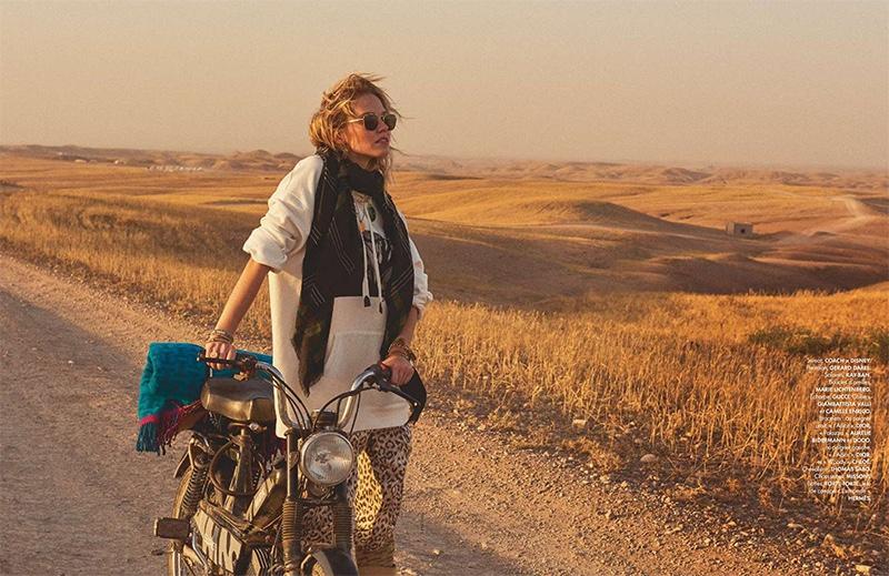 Sasha Luss Goes On a Desert Road Trip for ELLE France