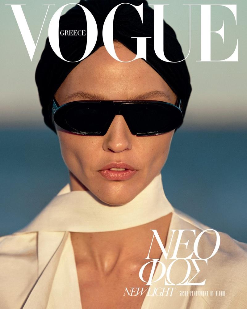 Sasha Pivovarova Tries On Chic Neutrals for Vogue Greece