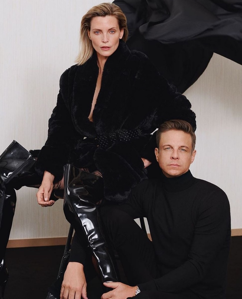 Model Nadja Auermann poses with Steffen Schraut for the designer's fall 2019 campaign
