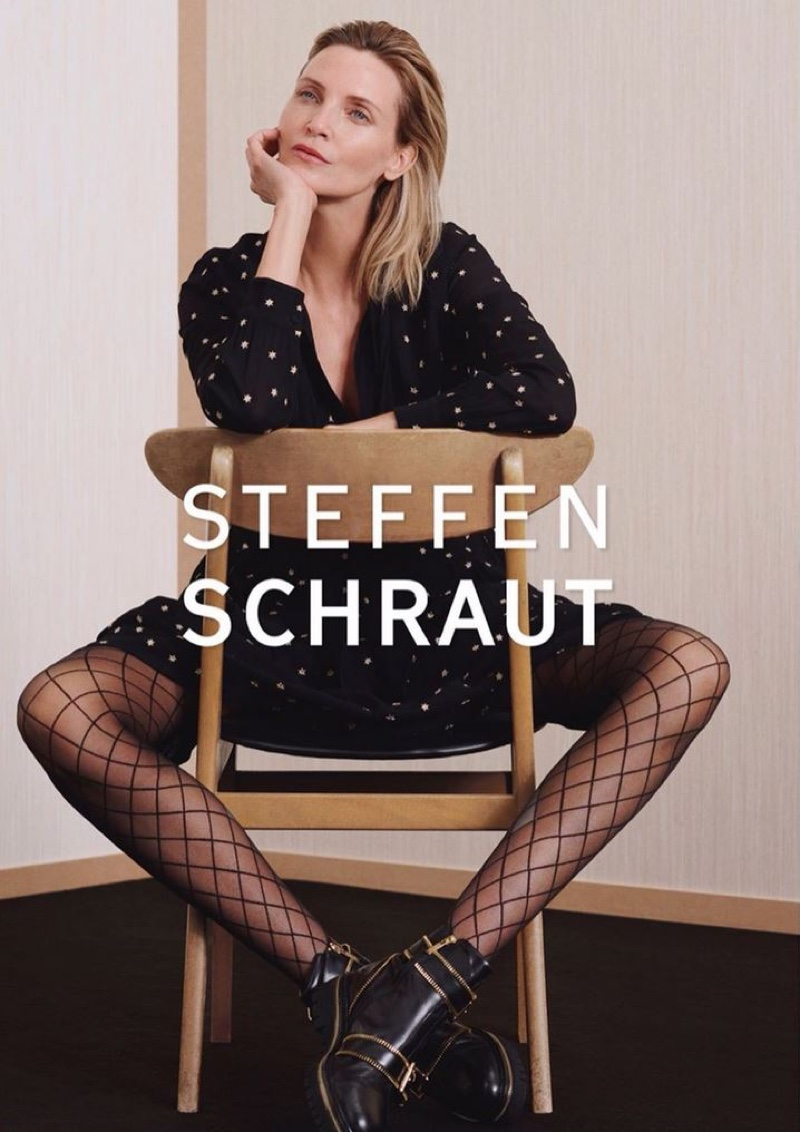 Taking a seat, Nadja Auermann appears in Steffen Schraut fall-winter 2019 campaign