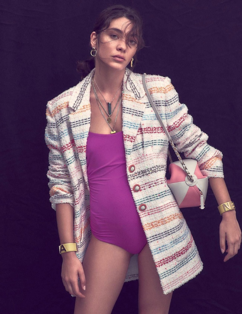 Steffy Argelich Poses in Colorful Swimsuit Trends for ELLE Italy