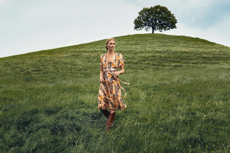 Jodie Kidd poses in Bellflower dress for Temperley London fall-winter 2019 campaign