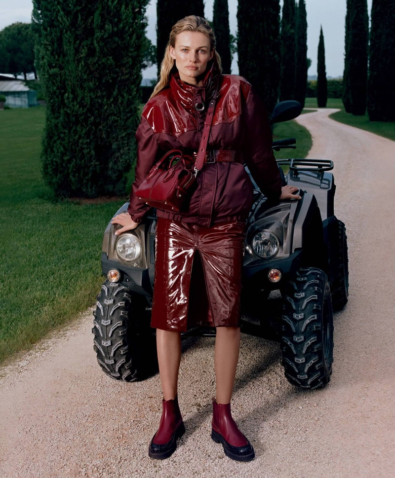 Wearing Burgundy, Edita Vilkeviciute fronts Tod's fall-winter 2019 campaign