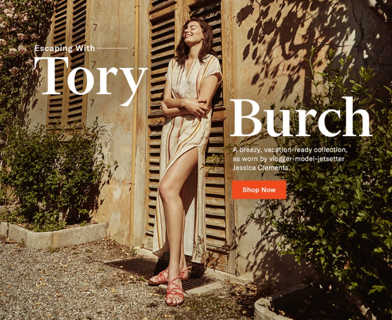 Tory Burch Awning Stripe Caftan $398 and Paloma Sandals $228