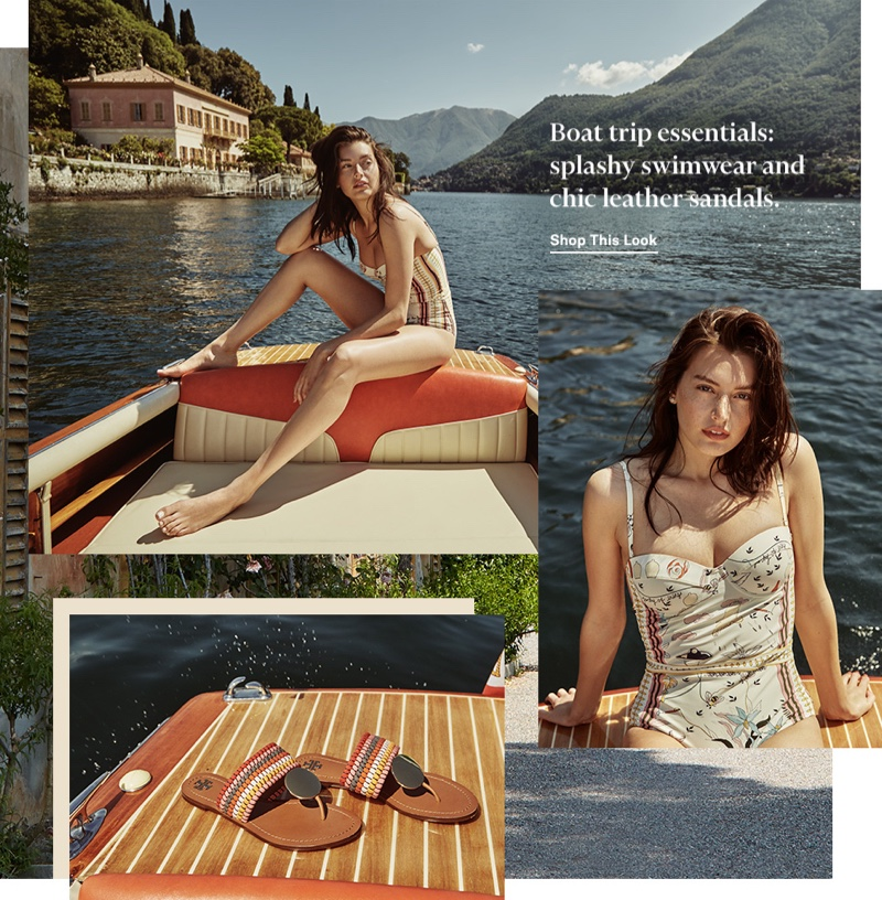 Tory Burch Colorblock One Piece Swimsuit $258 and Patos Disk Sandals $278