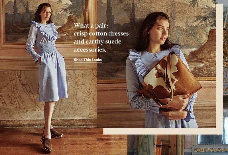 Tory Burch Smocked Dress $498, Blythe Studded Clogs $328 and Rowan Calf Hair Bucket Bag $798