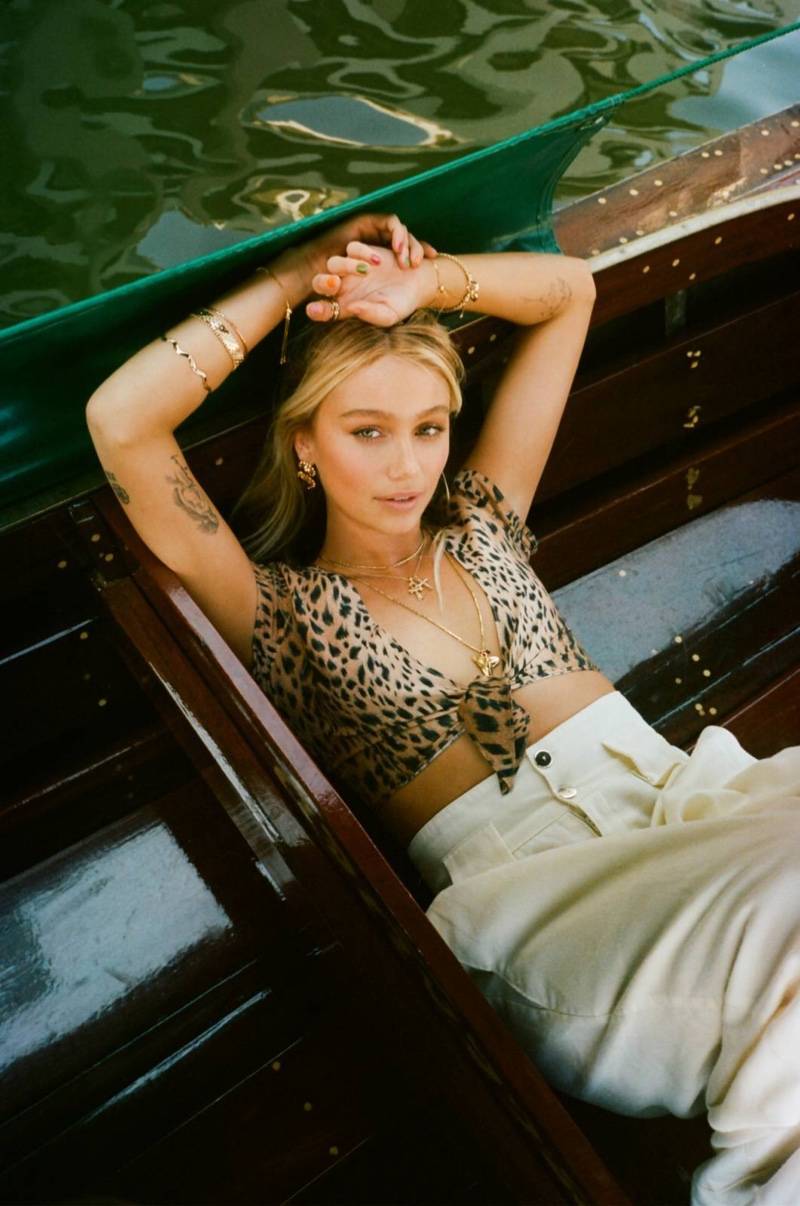 Cailin Russo wears animal print from Vanessa Mooney's capsule clothing line