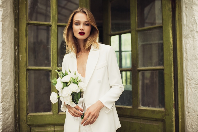 Wedding Pantsuit Blonde Model