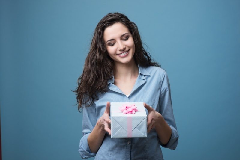 Woman Brunette Gift Box Smiling
