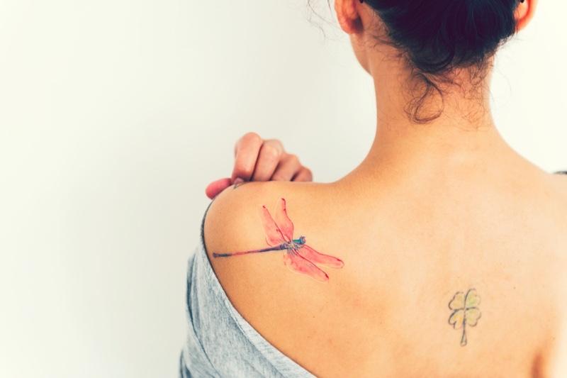 Woman Dragonfly Four Leaf Clover Tattoo Back