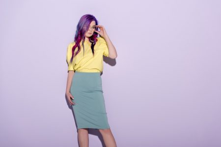 Woman Glasses Purple Hair Yellow Top Blue Skirt