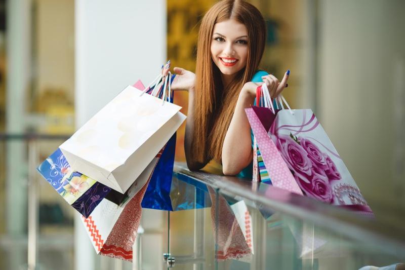 Woman Red Hair Shopping Bags Mall