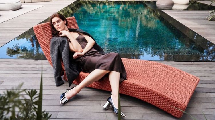 Hilary Rhoda lounges by the pool for ATM fall-winter 2019 campaign