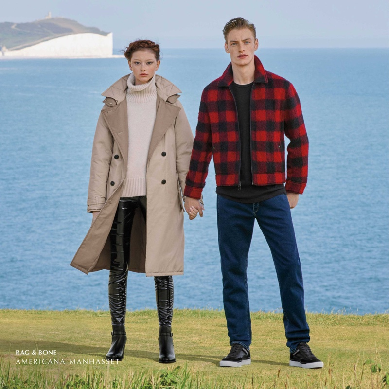 Sara Grace Wallerstedt and Roberto Sipos front Americana Manhasset fall-winter 2019 campaign