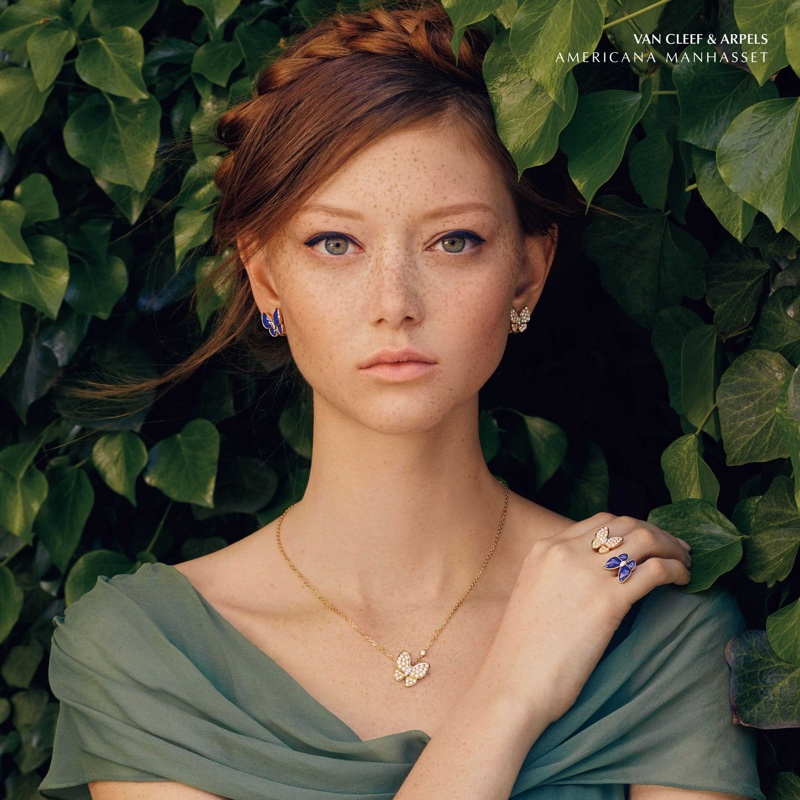 Sara Grace Wallerstedt  models Van Cleef & Arpels jewelry for Americana Manhasset fall 2019 campaign