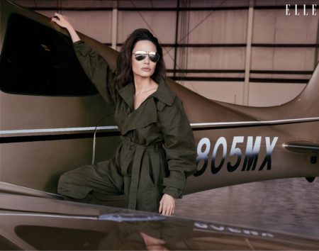 Angelina Jolie poses in Stella McCartney jumpsuit with Dolce & Gabbana sunglasses