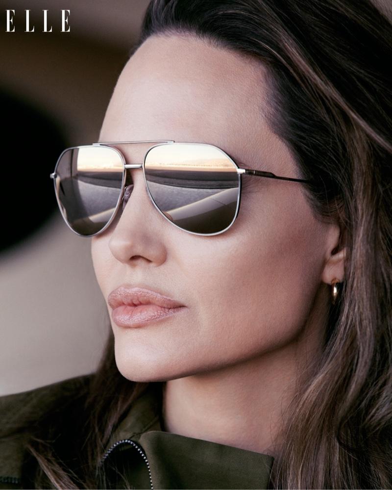 Ready for her closeup, Angelina Jolie dons aviator frames