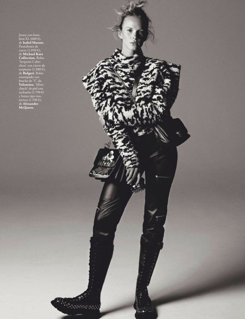 Anne Vyalitsyna Poses in Rough & Tumble Style for ELLE Spain