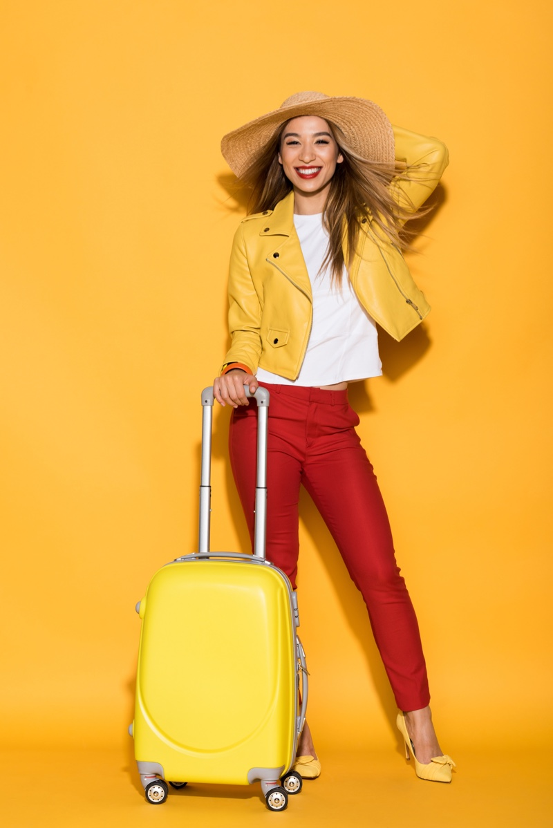 Asian Model Suitcase Leather Jacket Red Pants Suitcase Hat