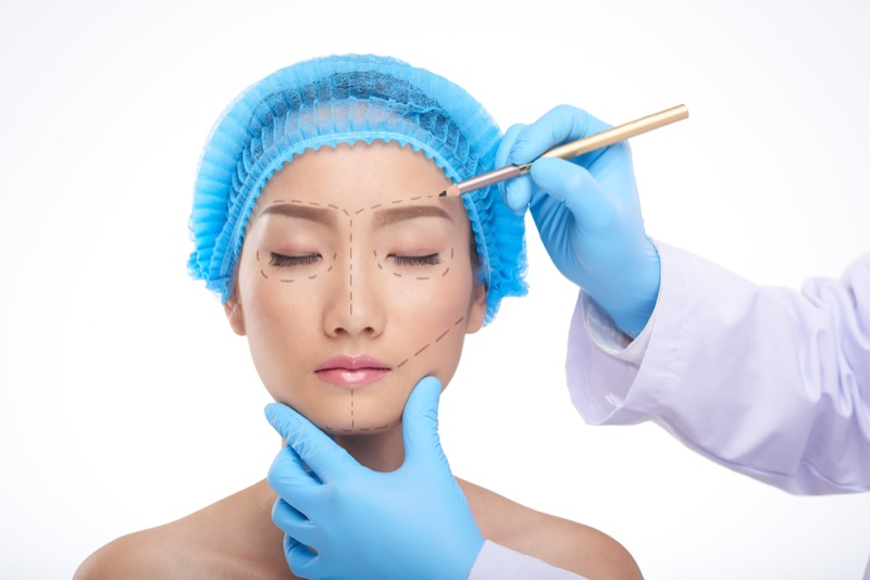 Asian Woman Surgery Lines Doctor