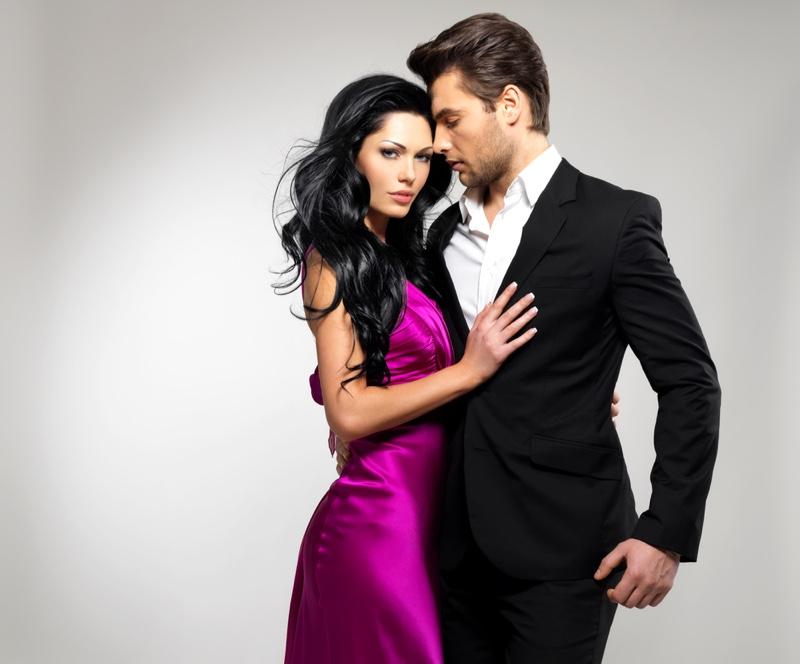 Attractive Couple Models Purple Dress Suit