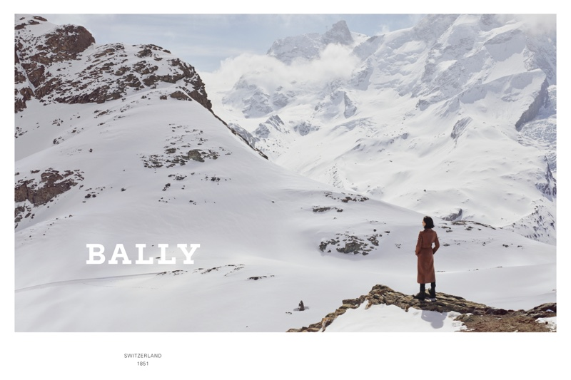 Snow covered Swiss mountains stand out in Bally's fall-winter 2019 campaign