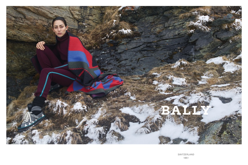 Conie Vallese poses in Switzerland for Bally fall-winter 2019 campaign