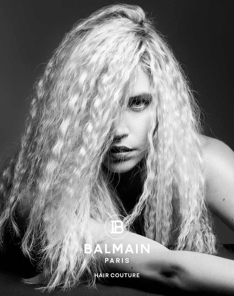 Balmain Hair Couture features a crimped hairstyle in fall-winter 2019 campaign