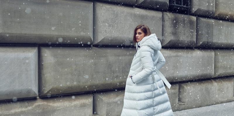Model Barbara Palvin wears white coat in Mackage fall-winter 2019 campaign