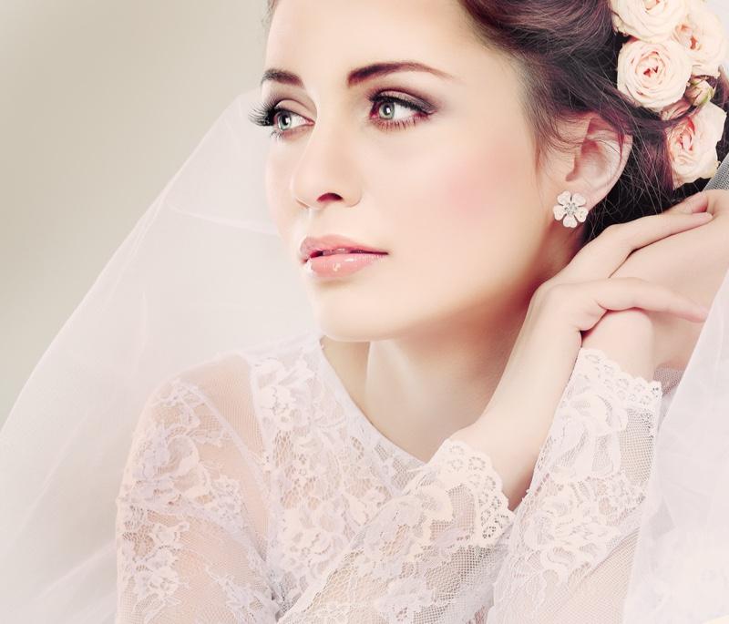 Beauty Bridal Shot Brunette Flowers