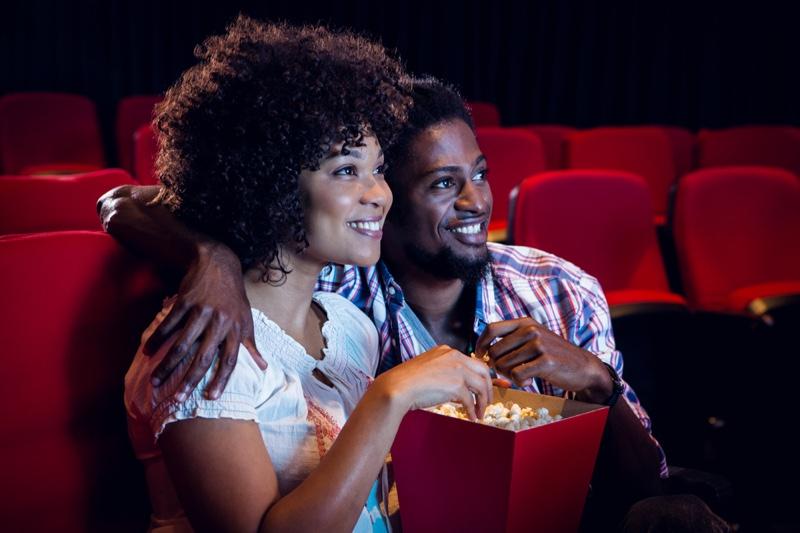 Black Couple Popcorn Movie Theater