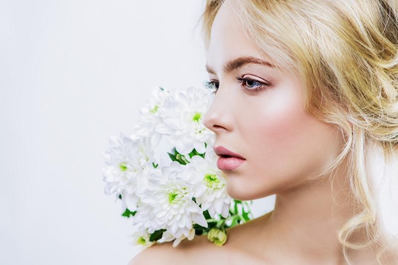 Blonde Model Beauty Makeup White Flowers