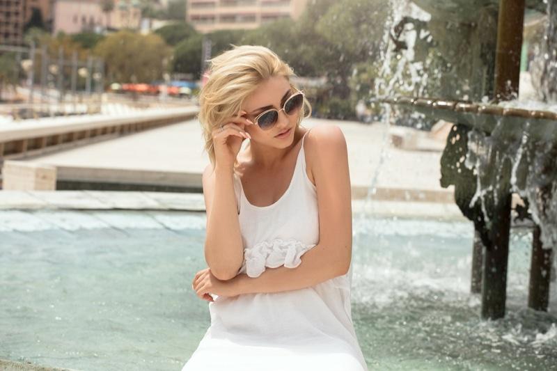 Blonde Model Monaco White Dress Sunglasses